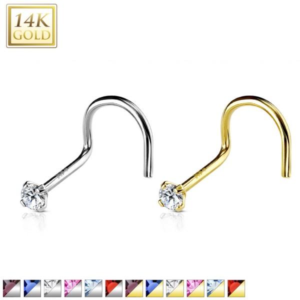 14 Karat 585 Gold Nasenpiercing Stecker mit 2mm Zirkonia in verschiedenen Farben