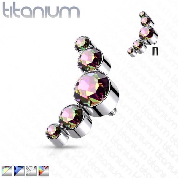 Implant Grade Titanium Internally Threaded 5 Round Swarovski Crystal Bezel Set Top Parts