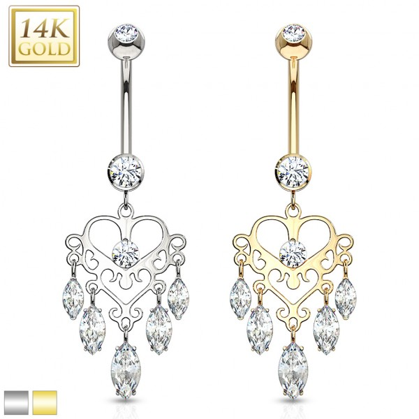 Marquise CZ Dangle Heart Chandelier 14 Karat Solid Gold Navel Ring