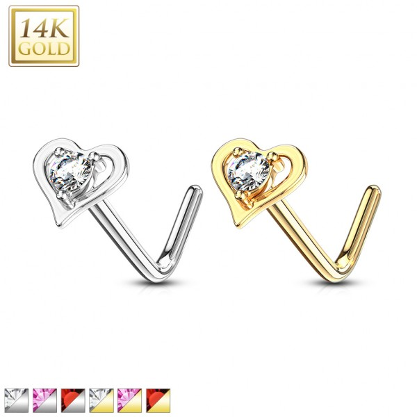 14Kt. Gold L Bend Nose Ring with Prong Set Round CZ Center Hollow Heart