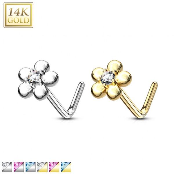 14Kt. Gold L Bend Nose Ring with CZ Centered Five Petal Flower