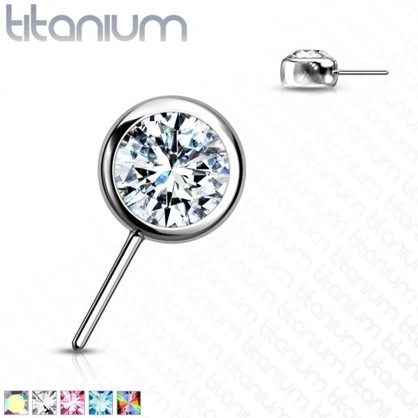 Implant Grade Titanium Threadless Push In Top Front Facing Zircon Bezel Set Balls