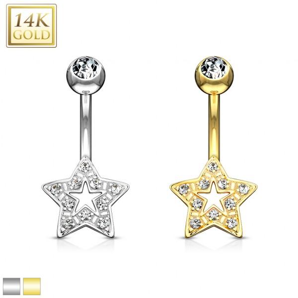 Star Charm Clear CZ 14 Karat Solid Gold Navel Ring