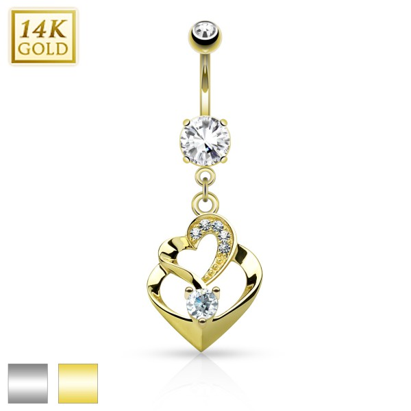 Double Heart Dangle with CZ 14KT Gold Dangle Navel Ring