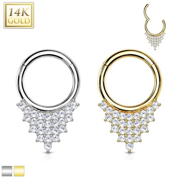 14 Karat Gold Segmentring Clicker mit vielen Zirkonias Pavé 585 Gold dreieckig