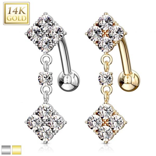 Diamond Dangle Multi CZ Top Down Navel Ring 14 Karat Solid YGold