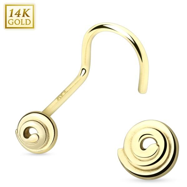 14 Karat Solid Gold Spiral Nose Screw
