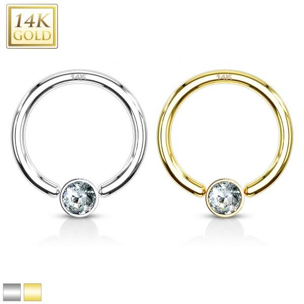 CZ Set Gem Ball Captive Bead Ring 14 Karat Solid Yellow Gold