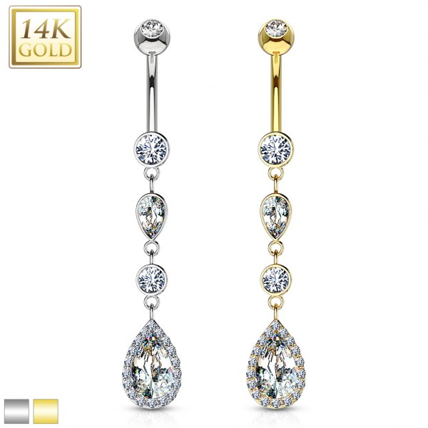 Cascading Teardrop with Multi Paved CZs Around Dangle 14 Karat Solid Gold Navel Ring