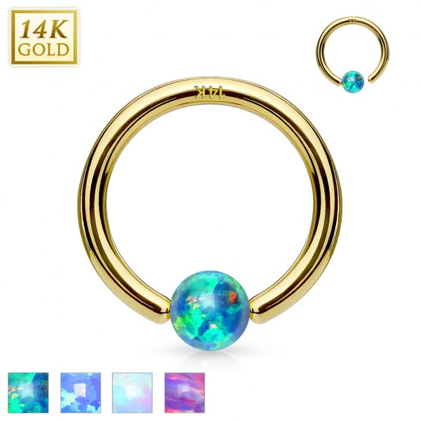 14Kt. Gold Opal Ball Fixed Hoop Rings for Nose, Cartilage, Septum and ore