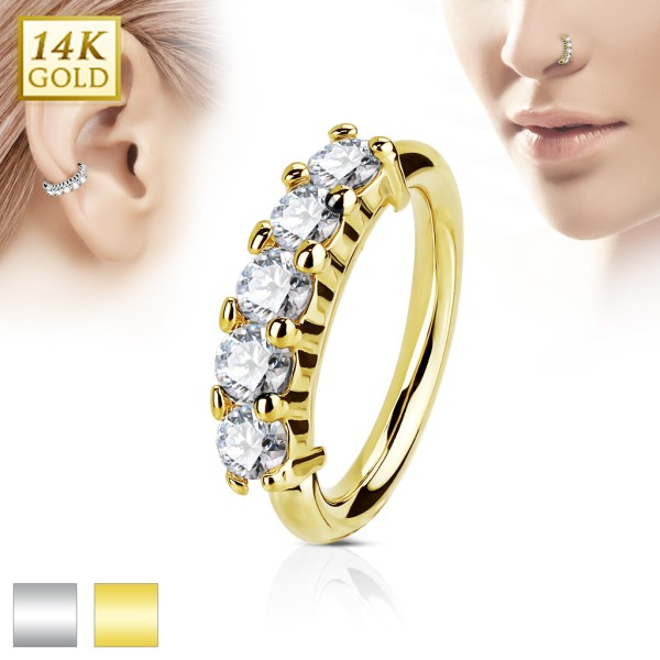 14Kt. Gold Five CZ Set OpenHoop Rings for Nose, Ear Cartilage and Lip Piercings