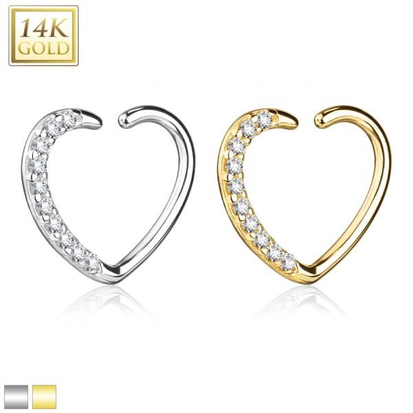 14Kt. Gold CZ Paved Heart Shape Ear Cartilage, Daith Hoop for Righ Ear