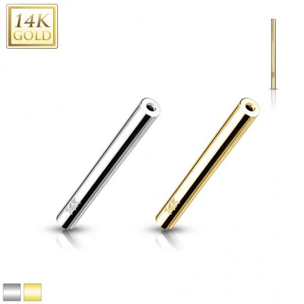 14 Karat Gold Push In Barbell Stange 585 Gelbgold Weißgold