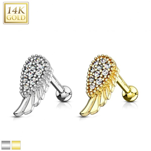 CZ Paved Angel Wing Top 14K Gold Cartilage/Tragus Barbell