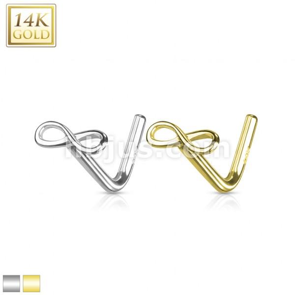 14Kt. Gold L Bend Nose Ring Infinity Sign End