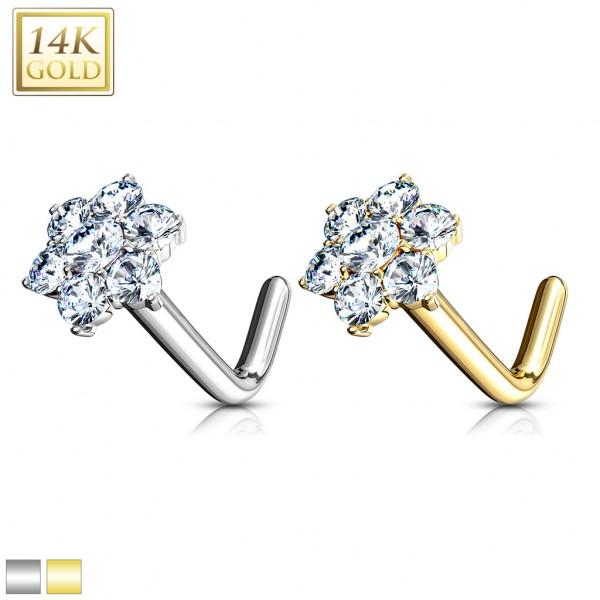 CZ Cluster Flower Nose Stud Ring 14 Karat Solid Gold