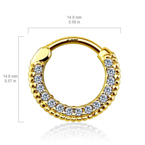 Round Paved Gems 14Kt Gold Septum Clicker