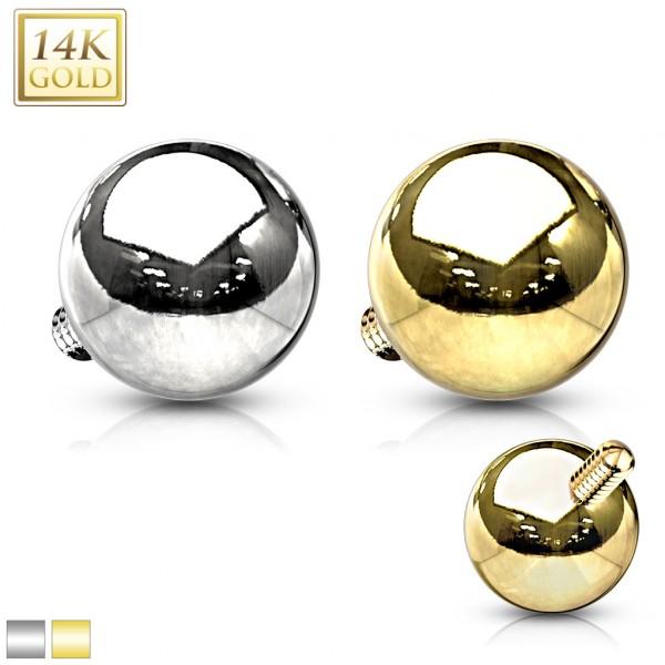 14 Karat Solid Gold Dermal Top Internally Threaded Ball