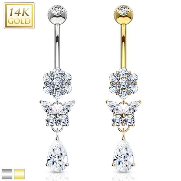Pear Cut CZ Dangle with Gemmed Flower and Butterfly 14 Karat Solid Gold Navel Ring