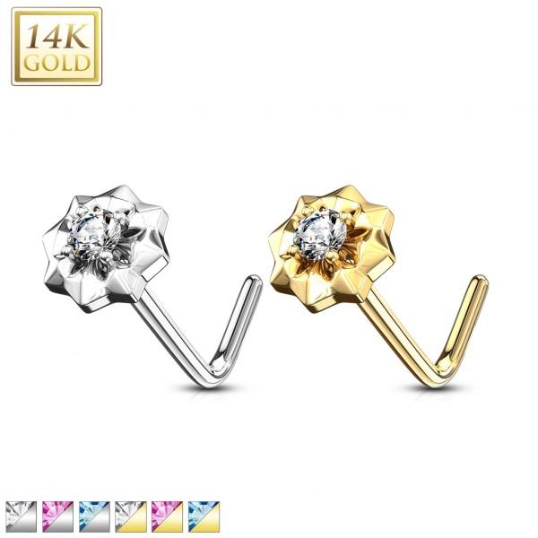 14Kt. Gold L Bend Nose Ring with Prong Set CZ Center Starburst