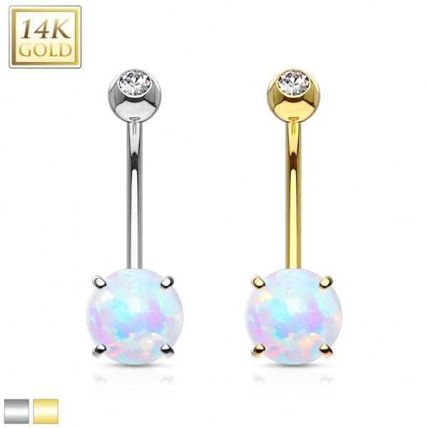 Prong Set 6mm Opal Stone 14K Gold Navel Ring
