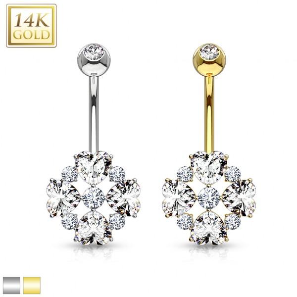 Heart Cut Flower Petals CZ 14 Karat Solid Gold Navel Ring