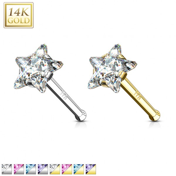 Star Prong CZ Nose Stud Ring 14 Karat Solid Gold