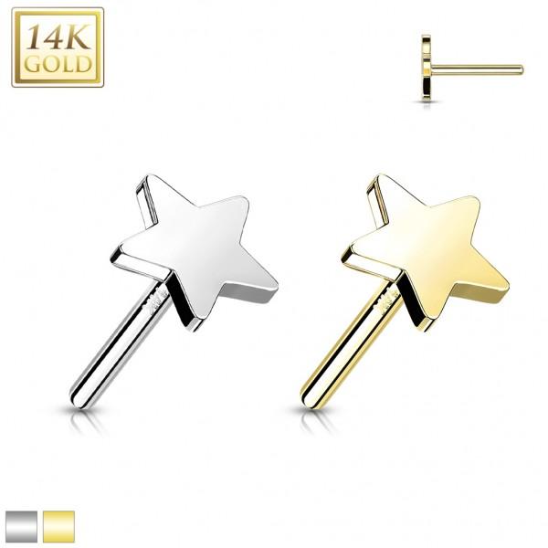 14 Karat Gold Stern flach mit Push In Stab Gelgbold Weißgold