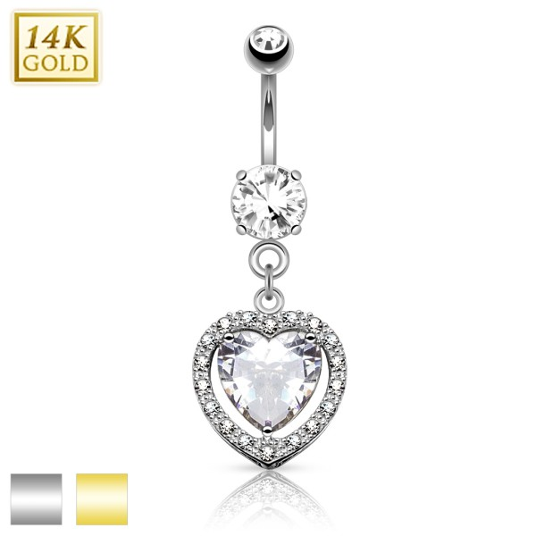 Heart Dangle with Heart Shaped Solitaire CZ 14KT Gold Dangle Navel Ring