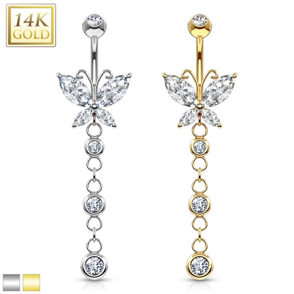 Butterfly Marquise CZ Navel Ring with Triple CZ Dangle 14 Karat Solid Gold