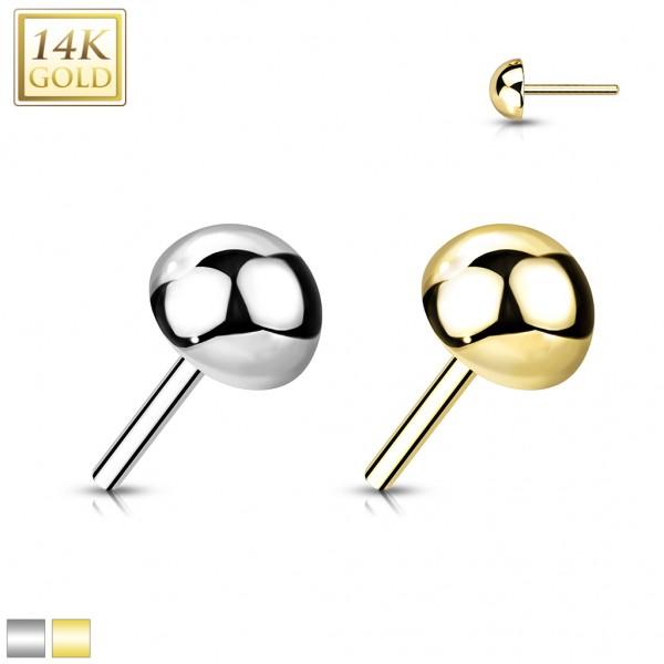 14 Karat Gold Kugel flach mit Push In Stab Gelgbold Weißgold