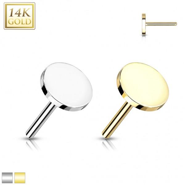 14 Karat Gold Disc flach mit Push In Stab Gelgbold Weißgold