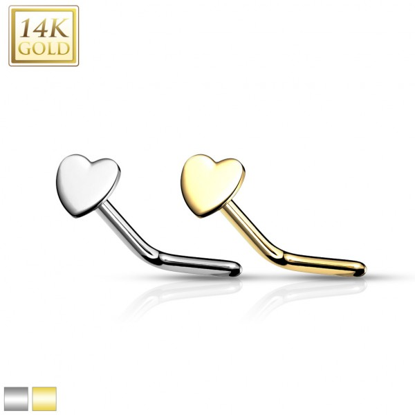 14Kt. Gold Heart Top L Bend Nose Stud Rings