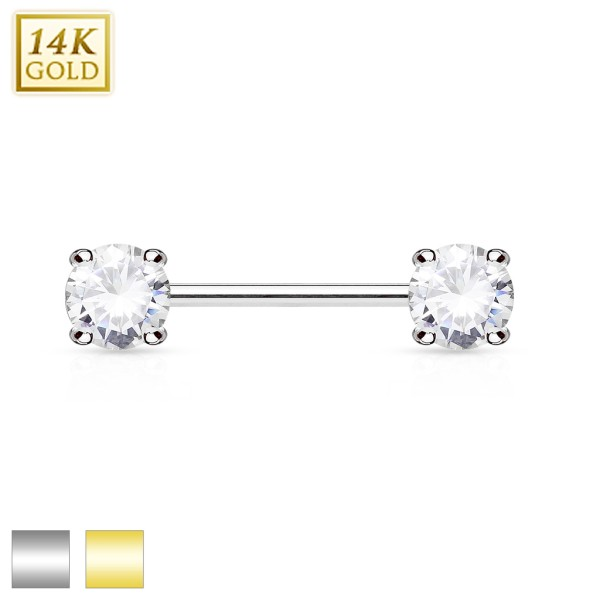 Double Prong Set AAA CZ 14K Gold Nipple Bar