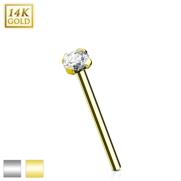 12mm Prong Set CZ Top 14 Karat Solid Gold Fish Tail Nose Ring