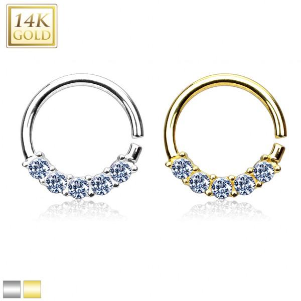 14 Karat Gold biegbarer runder Hoop Ring 585 Gold für Septum, Helix, Tragus, Daith
