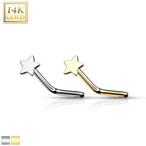 14Kt. Gold Star Top L Bend Nose Stud Rings