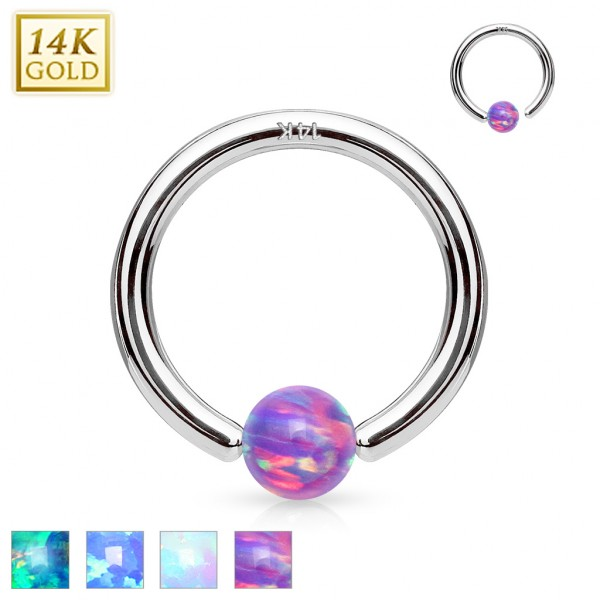 14Kt. White Gold Opal Ball Fixed Hoop Rings for Nose, Cartilage, Septum and ore