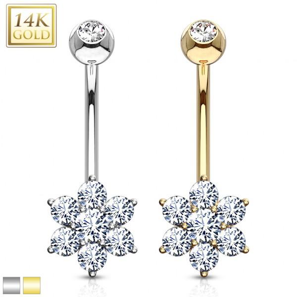 Flower Clear CZ Navel Ring 14 Karat Solid Gold