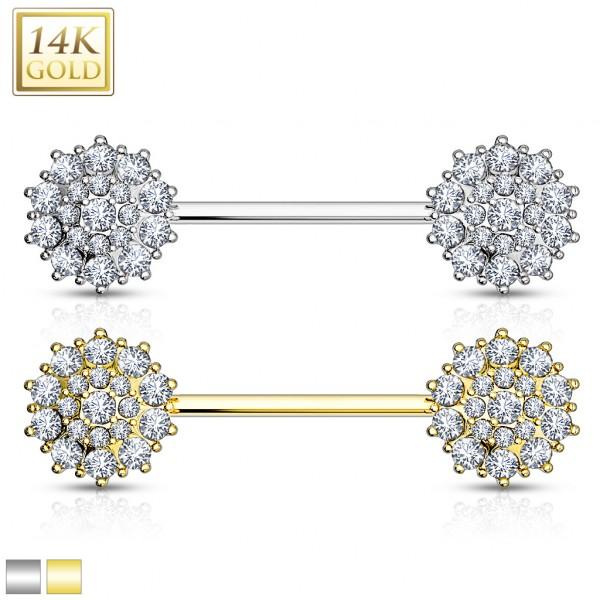 Triple Tiered CZ Flower 14K Gold Nipple Bar