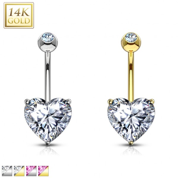 Heart CZ Prong Set 14 Karat Solid Gold Navel Ring
