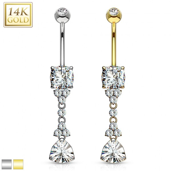 Trillion Cut Triangle CZ Dangle with Flowers and Pronged Princess Cut Gem 14 Karat Solid Gold Navel Ring