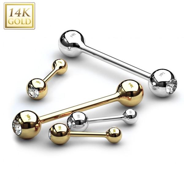 Clear CZ Bezel Set Ball Top Barbell 14 Karat Solid Gold