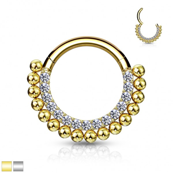 High Quality Precision All 316L Surgical Steel Hinged Segment Hoop Rings /Paved CZ and Ball