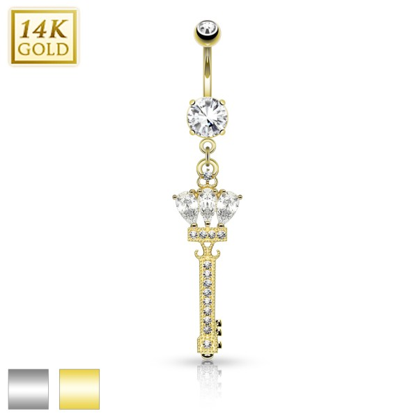 Crowned Key Dangle with Micro Paved CZ 14KT Gold Dangle Navel Ring