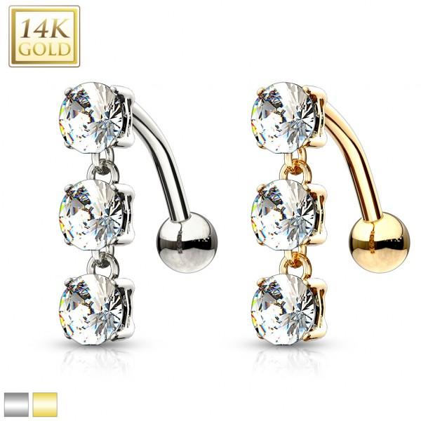 14 Karat Solid Gold Top Down Triple CZ Stones Dangle Navel Ring