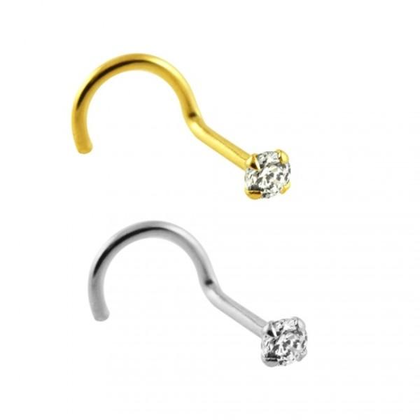Bent Nose Piercing 14 Karat Solid 585 Gold