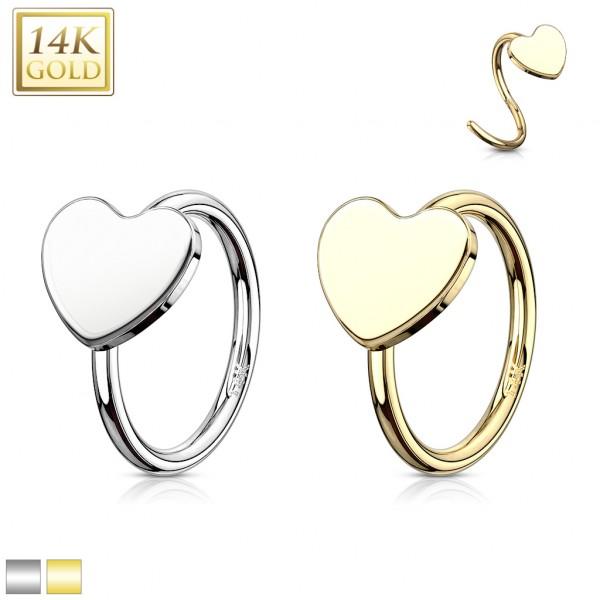 Heart 14 Karat Solid Gold Hoop Ring