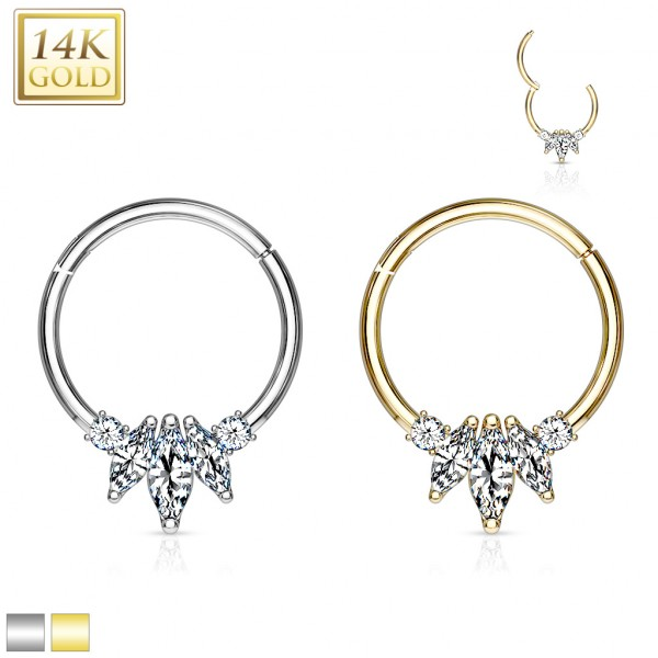 14 Kt. Gold Three Marquise CZ with Round CZ Hinged Hoop Rings for Nose Septum, Daith, and More