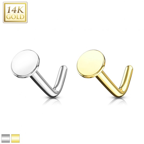 14Kt. Gold L Bend Nose Stud Rings with 3mm Flat Disc Top